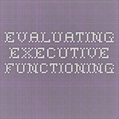 Evaluating Executive Functioning