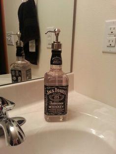 Upcycling... used empty jack daniels bottle for soap dispenser