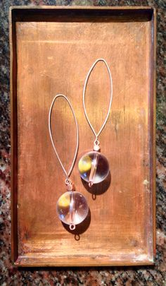 Crystal Ball Earrings ~ Natural Clear Quartz Spheres, Sterling Silver + Copper Detail by SoulandShine on Etsy https://www.etsy.com/listing/224089871/crystal-ball-earrings-natural-clear