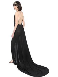 BACKLESS VISCOSE CREPE MAXI DRESS
