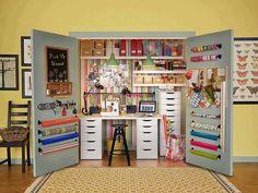A closet turned craft center - Storage and Design Tips for a Craft Room -  #craft #design #storage