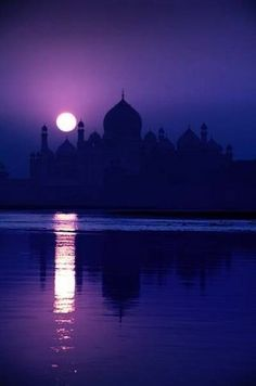 Purple Landscape with the moon and beautiful architectural silhouette.  Lovely.