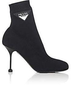 bfa324271b8e Prada Women s Logo-Patch Tech-Knit Ankle Boots - Nero