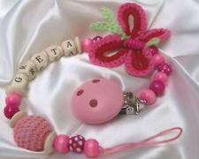 Personalised Wooden/Crochet Dummie Clip/Holder/Dummy Pacifier Baby** BUTTERFLY**