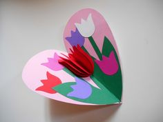 Tulip in a Heart Card Valentines Day Craft for Kids Kids Crafts, Mothers Day Crafts For Kids, Mothers Day Cards, Easter Crafts, Diy For Kids, Diy And Crafts, Arts And Crafts, Pop Up Cards, Valentine Crafts