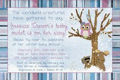 Woodsy Forest Friends Shower Invitation - Carter's Tree Tops --- oooooohhhh.  Snowy forest! Cool...