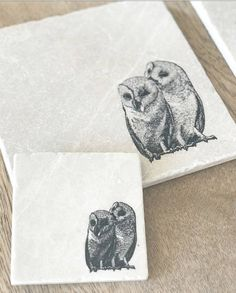 TWIN OWL natural stone tableware various sizes & COCKER SPANIEL natural stone coaster by ENCOREHOMEgift on Etsy ...