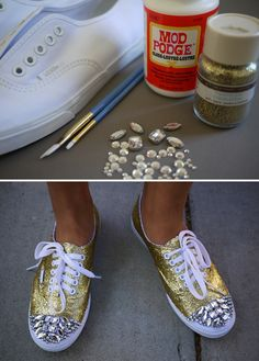 Chrissy I know these are butt ugly but the idea is quite interesting. Buy some plain shoes and decorate them yourself! Would be awesome for some heels too!