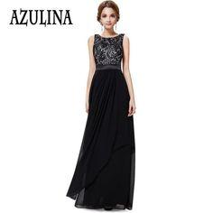 87b58bf9e73 Azulina vintage schwarz rot elegante ärmellose spitze chiffon sexy  abendgesellschaft kleider frauen backless robe femme lange maxi dress