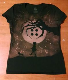 Coraline Inspired Handmade Bleached Shirt by GreyMachine on Etsy