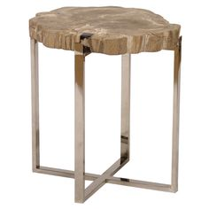 Sliced Petrified Wood Accent Table Large  from @Zinc_door #zincdoor #fanfave #table