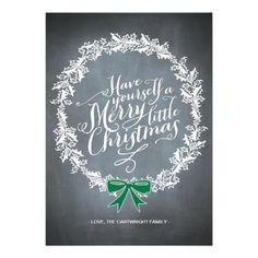 Chalkboard Wreath Green Ribbon Holiday Card
