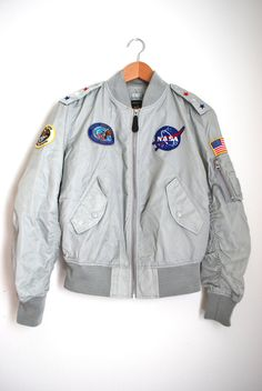 Vintage 70s 80s Space Commander Nylon Bomber by littlelightVTG