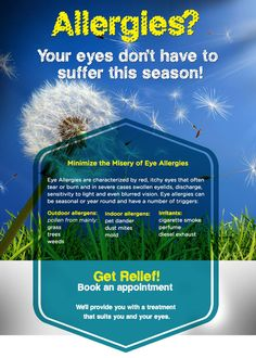 Spring is here, which mean's it is Itchy eyes? We can help! Call to schedule your appointment today. Swollen Eyelid, Allergy Eyes, Itchy Eyes, Spring Is Here, Health And Nutrition, Appointments, Allergies, Schedule, Burns