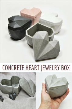 This modern heart-shaped jewelry box is perfect for her for Valentine's Day or for your anniversary. This geometric style jewelry box made in cement (concrete) stands out for its current exclusive design and fits perfectly with the new styles of decoratio Cement Art, Concrete Cement, Concrete Crafts, Concrete Projects, Concrete Design, Concrete Furniture, Jewellery Box Making, Jewelry Box, Cement Jewelry