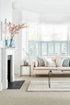 Pale blues matched with pinks and cream creates a perfect pared down look. Our House Beautiful Shutters range are a perfect addition to the theme. The collection takes its inspiration from the shifting skyscape, with ten exclusive colours in soft pastel shades.: www.hillarys.co.uk/