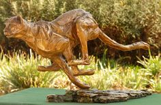 Bronze sculpture of running cheetah - sold out Bronze Sculpture, Lion Sculpture, South African Artists, Cheetah, Wildlife, Creatures, The Incredibles, Statue, Running