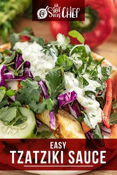 Easy Tzatziki sauce is light, creamy, and full of bright flavors, making it a versatile sauce. You can use it as a dipping sauce for breads or vegetables, on gyros, or as a condiment. You'll be amazed at how quickly this recipe comes together. #tzatzikisauce Authentic Tzatziki Sauce Recipe, Homemade Tzatziki Sauce, High Protein Vegan Recipes, Easy Healthy Recipes, Sauce Recipes, Chicken Recipes, Chef Recipes, Christmas Recipes Dinner Main Courses, Stay At Home Chef