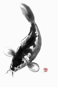 Sumi e Koi by on deviantART Japanese Painting, Chinese Painting, Chinese Art, Chinese Brush, Japanese Drawings, Japanese Koi, Traditional Paintings, Traditional Art, Koi Kunst