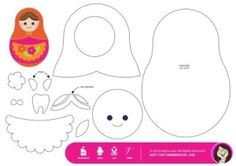 matryoshka pattern for a pillow (pattern makes a tooth fairy pocket)     I'd probably use the pattern for kids to make a paper doll, not a pillow