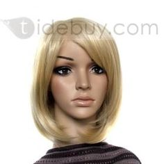 """Elegant Medium Straight Blonde Synthetic 12"""" Lace Front Wigs"""