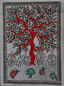 Madhubani 1 traditional art by Mithilesh Jha | ArtZolo.com