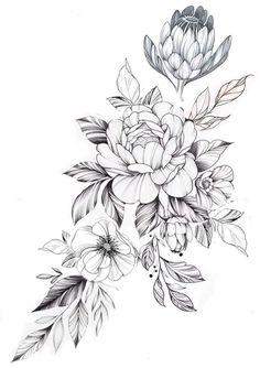flower tattoos DopeArt by tritoan__seventhday! Tattoo artists join FREE with inkg Tattoos Floral Thigh Tattoos, Leg Tattoos, Arm Tattoo, Body Art Tattoos, Sleeve Tattoos, Tattoos Skull, Tatoos, Flower Tattoo Drawings, Small Flower Tattoos