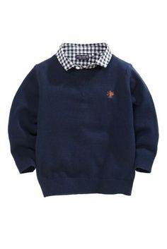 Buy Navy Mock Crew With Check Shirt (3mths-6yrs) online today at Next: Canada