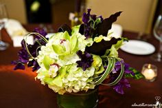 Fall Spring Summer Green Purple Centerpieces Wedding Reception Photos & Pictures - WeddingWire.com