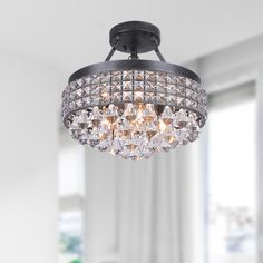 Antonia Antique Black Iron Shade Crystal Semi-flush Mount (Semi Flush Mount Chandelier, Antique Bronze), The Lighting Store Closet Lighting, Foyer Lighting, Lighting Store, Lighting Online, Kitchen Lighting, House Lighting, Bedroom Lighting, Lighting Ideas, Lighting Design