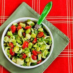 Recipe for Heart of Palm Salad with Tomato, Avocado, and Lime (with or without Cilantro).  This is such a tasty combination for a low-carb summer salad. [from Kalyn's Kitchen] #LowCarb  #GlutenFree #SouthBeachDiet