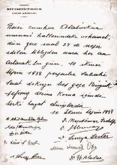 ATATÜRK'ün müdavim doktorları tarafından verilen vefat raporu - 10 Kasım 1938