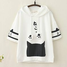 Japanese Kawaii Cat Kitten Print Summer Hoodie Source by HenryJUWAS clothing Girls Fashion Clothes, Teen Fashion Outfits, Mode Outfits, Girl Outfits, Kawaii Fashion, Cute Fashion, Girl Fashion, Style Fashion, Fashion Ideas