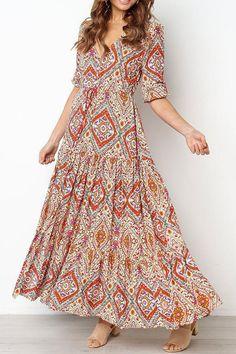 Bohemian Holiday V-neck Dress For Women