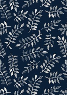 """White Leaves on Navy - a hand painted pattern"" Photographic Prints by micklyn 