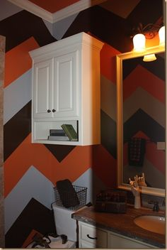 Boys Bathroom - Chevron Walls. Different colors but could be done! LoVe!