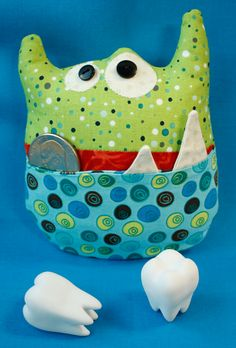Monster Tooth Pillow » Notions - The Connecting Threads Quilt Blog...let him draw his own monster and choose fabric. Great for boys with all the girl tooth fairy ones out there