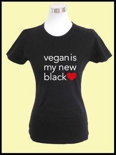 2e2979412778 Damen T-Shirt - veganis my new black Der perfekte Begleiter für die warme  Jahreszeit