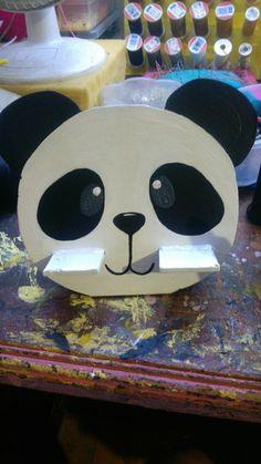 Porta celular panda, mdf 100% a mano -Shuya's arte manual-