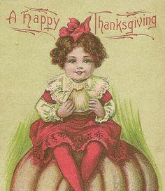 Thanksgiving Vintage Postcard Girl and Very by TheOldBarnDoor, $5.00