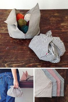 Sewing Projects The loveliest little project bag - The first photo I ever saw of these exquisite little Bento Bags — cleverly designed for carrying produce — was of apples spilling out of the natural linen one (the only fabric available at that tim… Sewing Hacks, Sewing Tutorials, Sewing Crafts, Sewing Patterns, Sewing Tips, Upcycled Crafts, Furoshiki, Diy Sac, Diy Couture