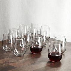 Crate  Barrel Set of 12 Stemless Red Wine Glasses (€27) ❤ liked on Polyvore featuring home, kitchen  dining, drinkware, crate and barrel glasses, highball glass, hi-ball glass, red wine glass and crate and barrel