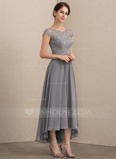 A-Line/Princess Scoop Neck Asymmetrical Chiffon Lace Mother of the Bride Dress - Mother of the Bride Dresses - DressFirst Mother Of Groom Dresses, Mothers Dresses, Mother Of The Bride, Evening Dress Long, Lace Evening Dresses, Dresses Elegant, Sexy Dresses, Dresses Uk, Western Wedding Dresses