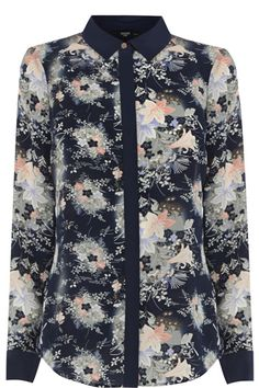Give a nod to the orient this season in our beautiful silk floral shirt. The piece features long sleeve styling and a contrasting collar, lapel and cuff finish. Oasis Uk, Uk Sites, The Mindy Project, Sleeve Styles, Kimono Top, Shirt Dress, Silk, My Style, Long Sleeve
