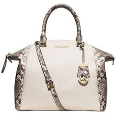 Michael Michael Kors Riley Large Satchel ($208) ❤ liked on Polyvore featuring bags, handbags, ecru, michael kors, michael kors handbags, satchel style handbags, white satchel and snake skin purse