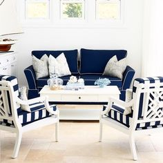 These chairs   Rebecca #love #hamptonsstyle #hamptons #australia #stunning #blueandwhiteforever #stripes #gorgeous