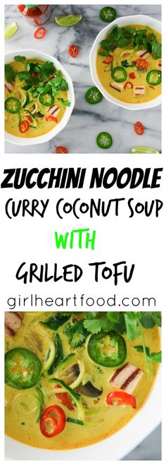 Zucchini Noodle Curry Coconut Soup with Grilled Tofu My new favourite vegetarian soup, this Zucchini Noodle Curry Coconut Soup with Grilled Tofu hasdeliciousness to the max, you guys! There's a rich curry and coconut based broth seasoned with flavours of garlic and ginger and then there's marinated grilled tofu with loads of veggies, including mushrooms, …