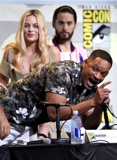 ". Will Smith speaks as Margot Robbie, from left, and Jared Leto look on at the ""Suicide Squad\"" panel on day 3 of Comic-Con International on Saturday, July 23, 2016, in San Diego. (Photo by Chris Pizzello/Invision/AP)"