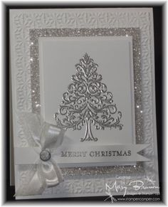 handmade Christmas card ... silver and white .... sparkly delight ... silver emboss tree ... glitter paper framing ... gorgeous!!