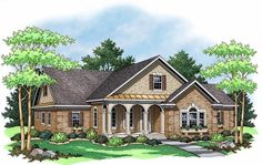 I like the exterior mock up...not the layout so much....  Ranch House Plan ID: chp-47119 - COOLhouseplans.com